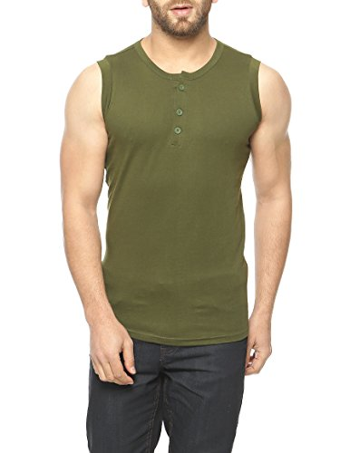 Gritstones Olive Green Sleeveless Round Neck T-Shirt