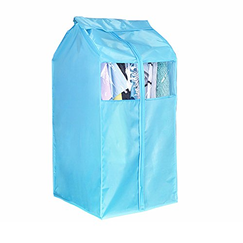 Garment Bags Storage - Large Blue Oxford Canvas Clothing Dustproof Cover Wardrobe Hanging Storage Bag Garment Rack Cover with Transparent Window Dustproof Moisture Proof Protector with Magic Tape and Zipper HZC72