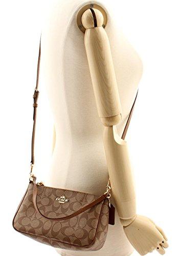 1af63f8533bca COACH Signature Coated Canvas Top Handle Crossbody F58321 (Khaki Saddle)   Handbags  Amazon.com