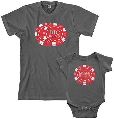 Threadrock Big & Small Blind Infant Bodysuit & Men's T-Shirt Matching Set (Baby: 24M, Charcoal|Men's: M, Charcoal)