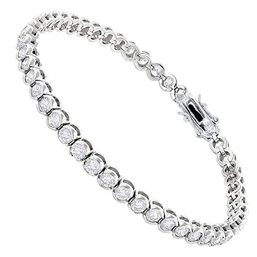 (Jade Marie Flawless 18k White Gold Round Cut Cubic Zirconia Bracelets, Sparkling Silver Tennis Bracelet with Round Cut CZ Stones, Dainty Crystal Wrist Bracelet for Girls, Bridesmaid Jewelry)