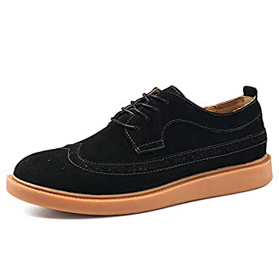 2019 Mens New Lace-up Flats Men's Oxford Shoes, Casual Comfortable Breathable Classic Carved Lace-up Brogue Shoes (Color : Black, Size : 5.5 UK)