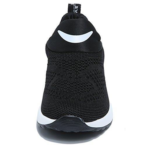 Kids Boys Girls Running Shoes Comfortable Fashion Light Weight Slip on Cushion(9.5, Black) - Image 3