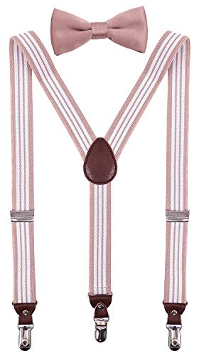 PZLE Mens Suspenders and Bow Tie Adjustable Set for Wedding 47 Inches Pink White Stripe