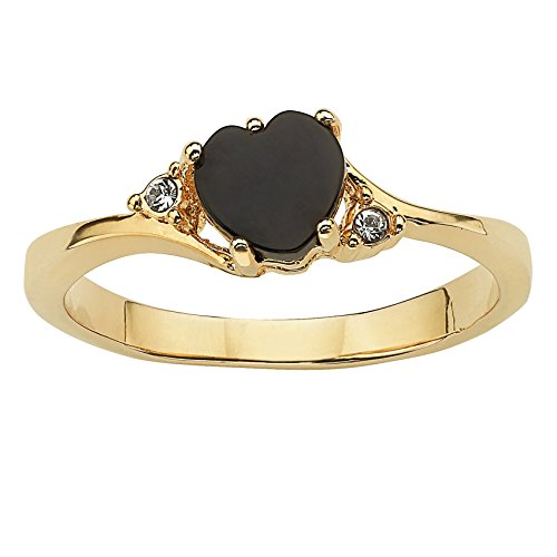 (Palm Beach Jewelry Genuine Black Onyx and Simulated Crystal Accent 14k Yellow Gold-Plated Heart-Shaped Ring Size 10)