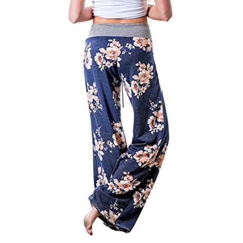 Realdo Women Drawstring Waist Trousers, Ladies Casual Floral Print Wide Leg High Waist Long Loose Yoga Pants(X-Large,Blue)