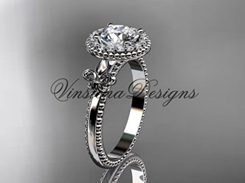 (14kt white gold diamond Fleur de Lis engagement ring,