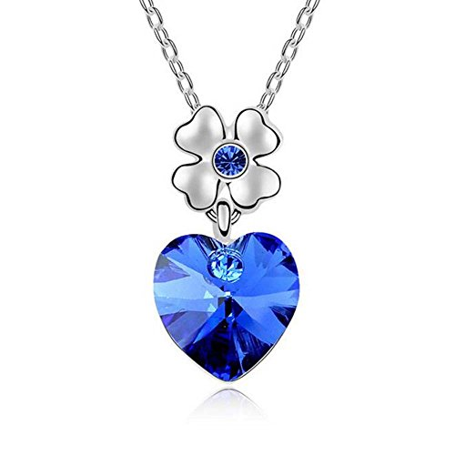 Price comparison product image Winter's Secret Austrian Crystal Dancing Heart Blue Pendant Flower Silver Chain Necklace