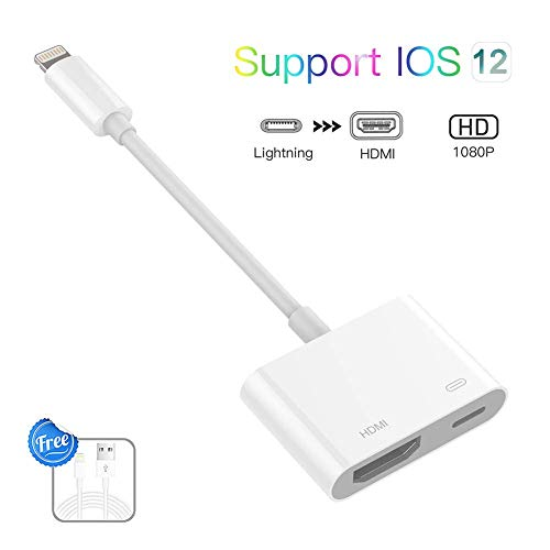 Lighting to HDMI Adapter, Lighting Digital AV Adapter with Lighting Charging Port for HD TV Monitor Projector 1080P for iPhone, iPad and iPod (iOS 11, iOS 12 White) ()