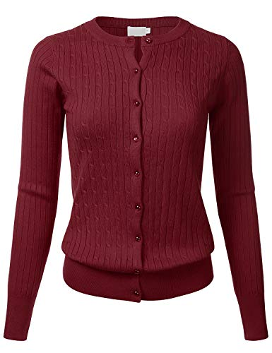 Women's Classic Gem Button Long Sleeve Crew Neck Cable Knit Fitted Cardigan Sweater Burgundy ()