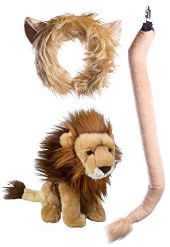 Wildlife Tree Stuffed Plush Lion Ears Headband and Tail Set with Baby Lion -