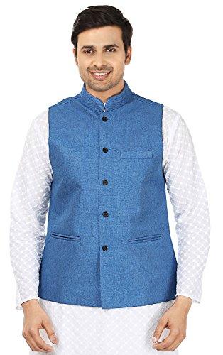 Men's Jute Traditional Indian Nehru Jacket Sleeve Less Waistcoat (Blue, L)