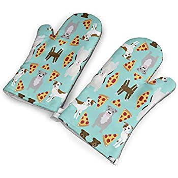 Feederm Funny Pizza Dog Oven Mitts,Professional Heat Resistant Microwave Oven Insulation Thickening Gloves Baking Pot Mittens Soft Inner Lining Kitchen Cooking