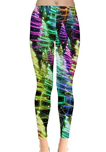 CowCow Womens Colorful Joy Xmas Tree Lights Ugly Christmas Leggings - 2XL