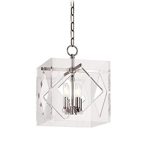 Hudson Valley Lighting Travis 4-Light Pendant - Polished Nickel Finish with Clear Acrylic Shade