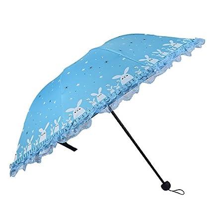 Paraguas Plegable Plegable del Viaje de Las señoras contra la protección Ultravioleta, Cielo Azul