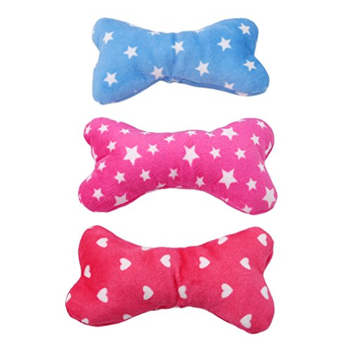 SOURBAN Cute Pet Plush Bone Squeaky Toy For Dog Small Random Color Puppy Chew Toys