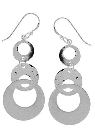 Boma Sterling Silver Three Circle Multi Finish Earrings by Boma Jewelry