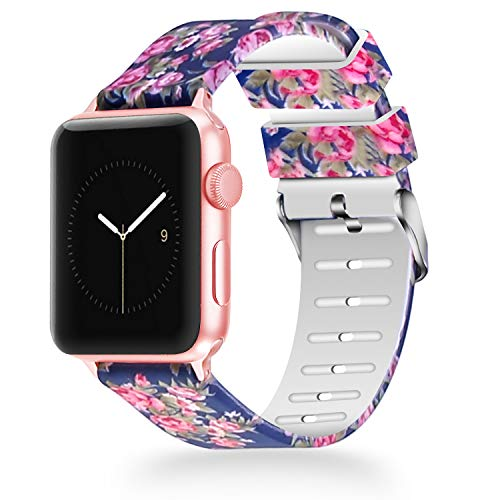 WISHTA Compatible with Apple Watch Band 38mm 40mm 42mm 44mm, Women iWatch Bands Soft Silicone Floral Pattern Replacement Wristband Compatible with Apple Watch Series 4 3 2 1 Band ()