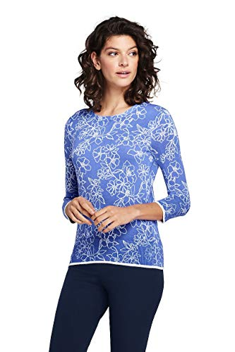 (Lands' End Women's Tall Supima 3/4 Sleeve Print Sweater, M, French Periwinkle)