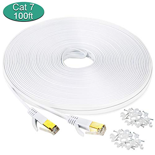 200' Cat5e Gray Patch - DEEGO Cat 7 Ethernet Cable 100 ft, Wireless Outdoor Networking Patch Cable with Clips,Supports Cat6 Cat6a Cat5 with Gold Plated RJ45 Connectors for Gaming,MAC,Desktop,ADSL,LAN-White