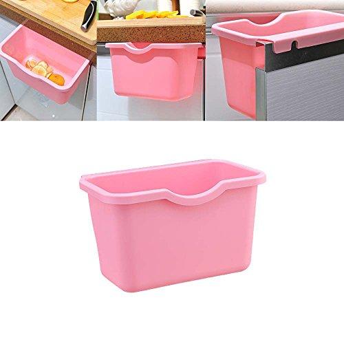 Ninasill Kitchen Storage Box Environmental Hanging Kitchen Cabinet Door Trash Rack Style Storage Garbage Boxs (Pink)