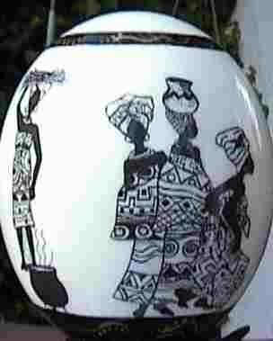 'Ostrich egg Ethnic Art–All Around Ornament