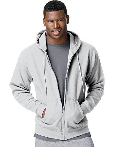 Hanes Men's ComfortBlend EcoSmart Full-Zip Hoodie, 2XL, Light Gray