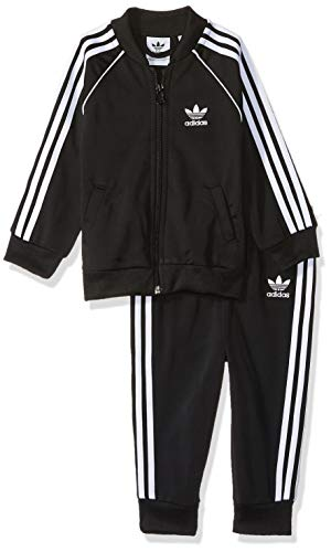 Unisex Tracksuit - adidas Originals Unisex Baby Superstar Track Suit Set, Black/White, 3M