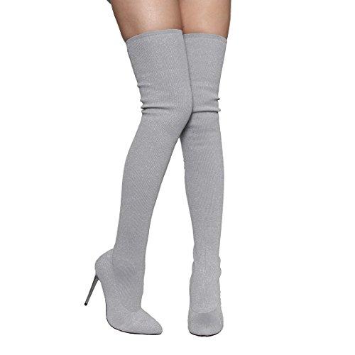 Beston EK34 Damen Stretchy Snug Fit Socke Oberschenkel hohe Stiefel halbe Größe klein Silber