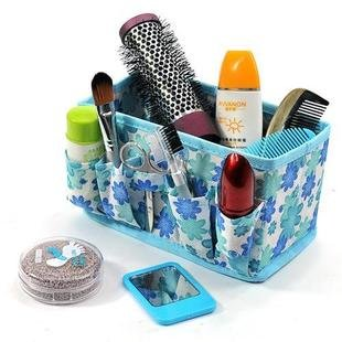 New Floral Folding Collapsible Desk Organizer Make Up Costmetic Case Storage Box Container Bag Stuff Organizer (Blue)