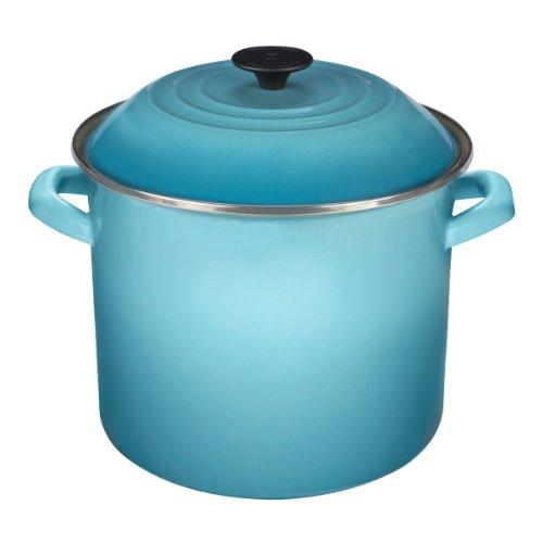 - Enamel On Steel Stock Pot Color: Caribbean, Size: 16 Qt.