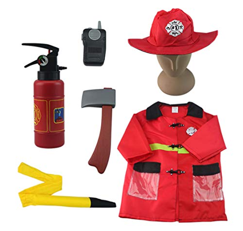 TC Fire Chief Role Play Costume, Fireman Dress Up, Fire Fighter Outfit, for Ages 3, 4, 5, 6, 7 Year Olds Kids
