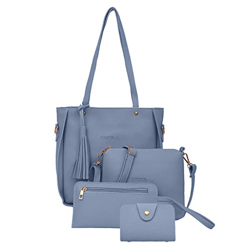 f5259d1d2679 Staron Woman Bag 2019 4 PCS Handbags Tote Bag Shoulder Bag Top Handle  Satchel Purse Set (Blue)