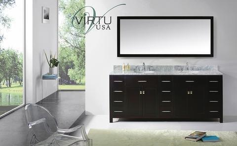 Virtu USA Caroline Parkway 78 inch Double Sink Bathroom Vanity Set in Espresso w/Round Undermount Sink, Italian Carrara White Marble Countertop, No Faucet, 1 Mirror - MD-2178-WMRO-ES