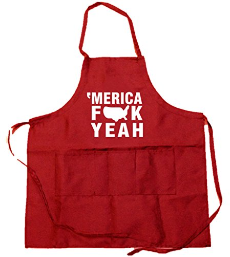 Funny Guy Mugs Merica Fck Yeah Apron with Pockets - Funny Apron - Perfect for BBQ Grilling Barbecue Cooking Baking Gardening - For the Man Who Has Everything
