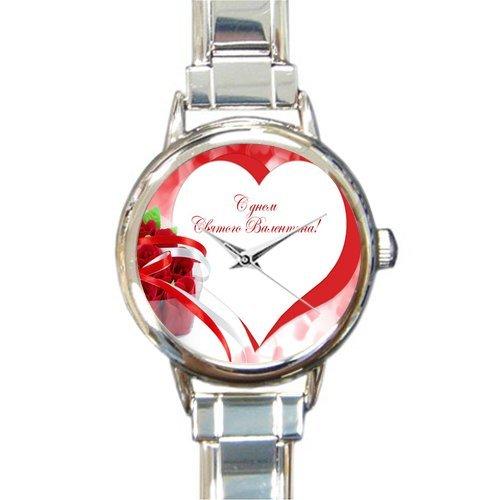 Valentine's Day Gift Watch Happy Valentines Round Italian Charm stainless steel Watch