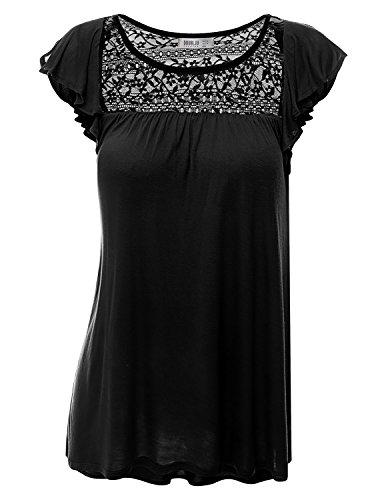 Doublju Loose Fit Ruffle Cap Sleeve Lace Blouse Top (Plus Size Available) Black 3XL