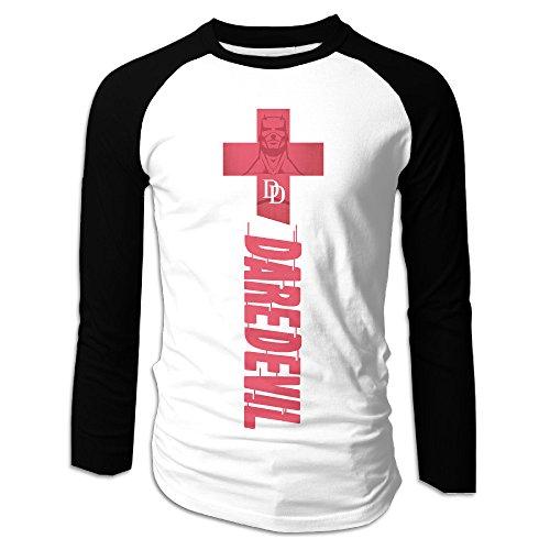 [Creamfly Mens Daredevil Superhero Long Sleeve Raglan Baseball Tshirt S] (Iron Fist Superhero Costumes)