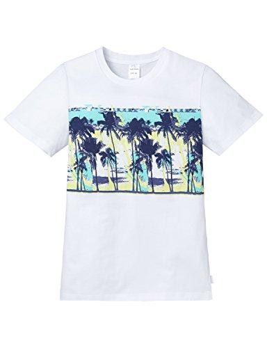 Schiesser Jungen Schlafanzugoberteil Shirt 1/2 Mix & Relax, Gr. 140, Weiß (weiss 100)