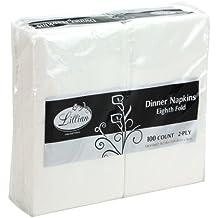 Lillian Tablesettings Premium White Napkins, 1/8 Fold Dinner Napkin, Value Pack 100 Count