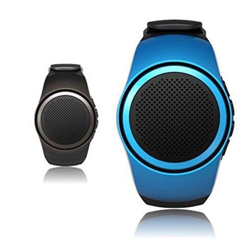 CAMTOA Wireless Bluetooth Wrist Speaker, MP3 Music Player Watch - Mini Speaker/Running Small Speaker for Remote Control Selfie/Phone Anti-lost/Handsfree Calls/ TF Card Playing/FM Radio Blue