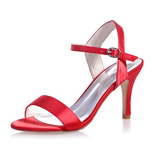 Red Satin Bridal High Evening Sandal ZXF9920 03 Women's Open Prom Shoes for Clearbridal Toe Heel Party Wedding U5aR15q