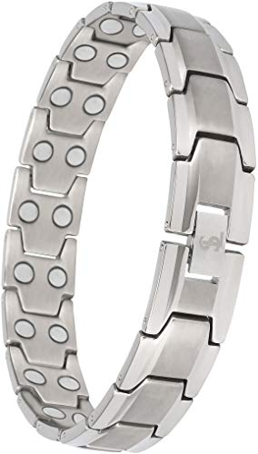 Elegant Mens Double Magnet Wide Titanium Magnetic Therapy Bracelet Pain Relief for Arthritis and Carpal Tunnel (Silver)