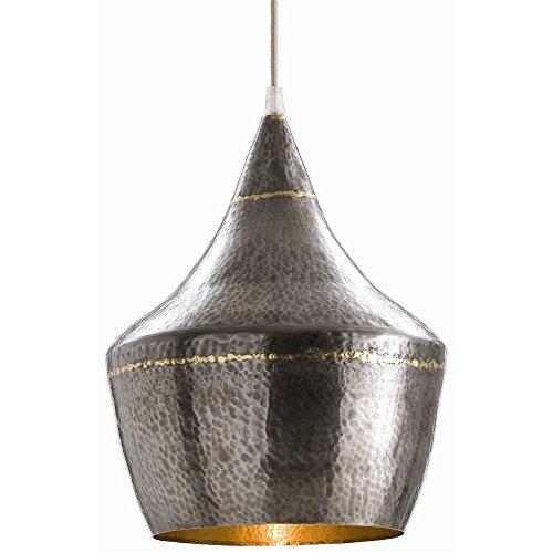 Arteriors 42413 Mason Small Hammered Iron Pendant, Dark Silver (Metal Pendant Light Hammered)