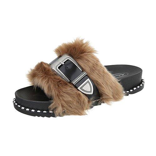 Zapatos para mujer Sandalias de vestir Plano Zuecos Ital-Design Negro beige 838