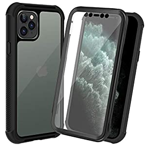 AMZGO iPhone 11 Pro Case, Clear Full Body Cover with Built-in Screen Protector, Heavy Duty Rugged Bumper Shockproof Case Compatible With iPhone 11 Pro 5.8 inch-Black/Clear