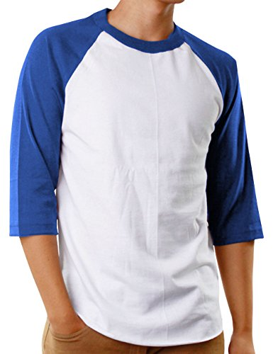 Hat and Beyond Mens Baseball Jersey Button Down T Shirts Hipster Plain Hip Hop 1UPA02 (Small, SK White/Royal Blue) ()