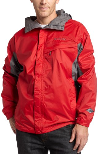 Columbia Men's Big Watertight Packable Rain Jacket, Intense Red/Charcoal, 2X