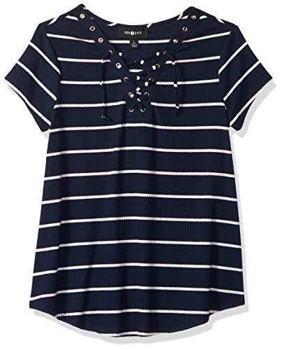 Amy Byer Girls' Big Short Sleeve Sneaker T-Shirt, sea Navy, XL